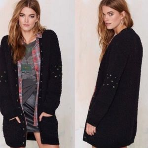 nastygal soft black studded cardigan